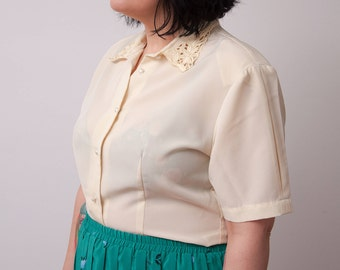 Vintage Pale Yellow Blouse - VTG Shirt with Cut-Out Pattern Collar and Faux Pearl Buttons - Size Medium Large - Gift For Her