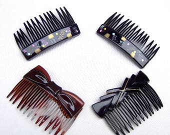 4 vintage Karina hair combs barrettes hair combs 1980s black gold theme hair accessory hair ornament decorative comb (AAP)