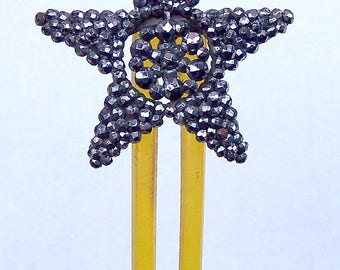 Antique Victorian hair comb cut steel pointed star hair accessory hair jewelry hair pin hair pick decorative comb