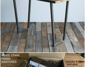 Stand Up Desk made with reclaimed wood and modern steel base.  Custom designs welcome.