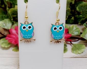 Blue Owl Earrings - Cute Owl Earrings - Small Owl Earrings