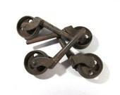 VINTAGE Cast Iron CASTER Wheels Four (4) Rusty Worn Caster Wheels Vintage Hardware Salvage Scrap Assemblage Art Restoration Supplies (N130)