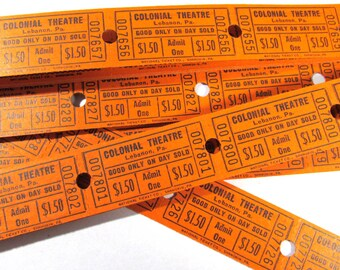 Movie Theater Tickets VINTAGE Theatre Tickets Fifty (50) Tickets Cardboard Vintage Scrapbooking Collage Jewelry Altered Art (M96)
