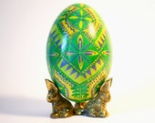 Green Pysanka Ukrainian Easter egg unique Anniversary Gift Housewarming gift symbol of union new leaf new life baby on the way new parents