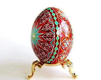 Christmas gift Pysanka Ukrainian Easter eggs batik decorated chicken egg shells