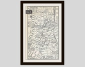Portland Maine Map, City Map, Pittsburgh Pennsylvania Map, Street Map, 1950s, 2 Sided, Black and White, Pink