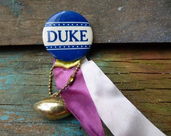 Vintage Duke University football button pinback w/ ribbons & football charm fob