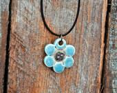 Ceramic Pendant Necklace Rustic Jewelry Flower Power Design