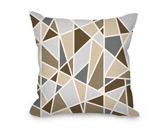 Geometric pillow cover, brown pillow, tan throw pillow cover, gray modern pillow, abstract pillow, decorative pillow
