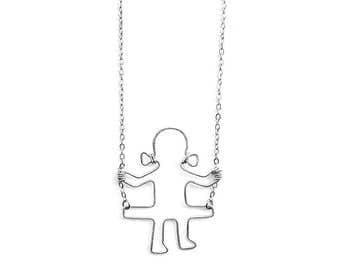 Girl on a Swing Necklace, Swinging Girl Necklace, Gift for Her