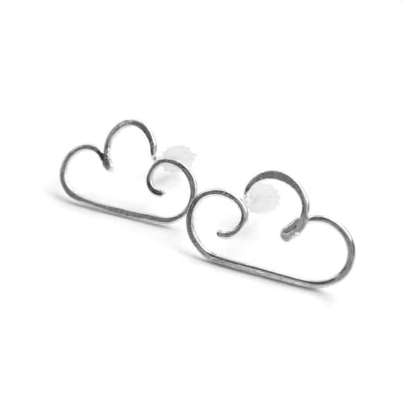Silver Cloud Stud Earrings - Cloud Earring Studs, Minimalist Jewelry