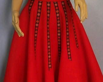 Vintage Red Felt Circle Skirt.  1970s Red Circle Skirt. Fun Vintage Skirt.
