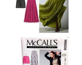Maxi Skirt Pattern, Mini Skirt Pattern, Melissa Watson McCall's 6608 Sewing Pattern Misses size 4, Size 6, Size 8, Size 10 Size 12 DIY Skirt