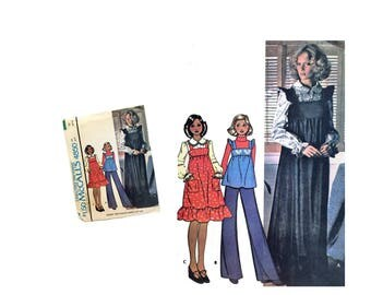 Misses Dress Jumper Smock Top Sewing Pattern Vintage McCall's 4850 Misses Size 10 DIY Retro Ladies Fashion 70's Collectible Patch Pockets