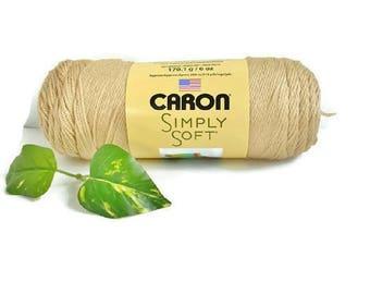"""Beige Tan Yarn Caron Simply Soft ONE SKEIN """"Bone"""" 6 oz Acrylic Knitting Crochet Yarn Sport Weight"""