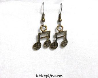 Musical Note Earrings Bronzed Earrings Charm Earrings Drop Dangle Earrings Surgical Steel Hooks