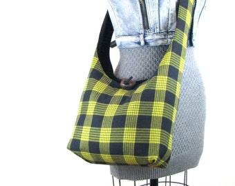 Women's Crossbody Bag - Vegan Bag - Cross Shoulder Bag - Hippie Bag for Women - Crossbody Purse - Bohemian Bag - Slouch Bag - Yellow Bag