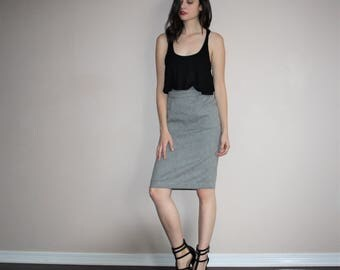 Vintage 80s Black and White Glam Pencil Skirt - 1980s Pencil Skirts - 80s Clothing - WV0003
