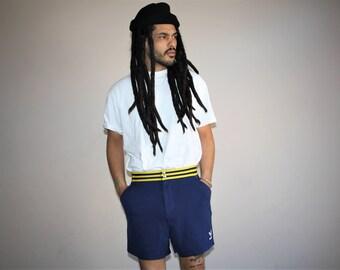 Vintage 80s Adidas Trefoil Blue Three Stripe Running Gym Shorts - 1980s Adidas Shorts - 80s Clothing - MV0209