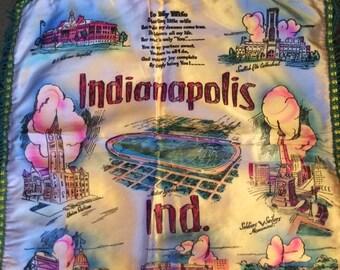 Vintage 1940s 1950s Souvenir Indianapolis Indiana Satin Pillow Case Fringed Edges Satin