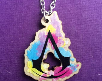 Wooden Assassin's Creed Watercolor Necklace - Ezio Auditore - Altair - FREE SHIPPING