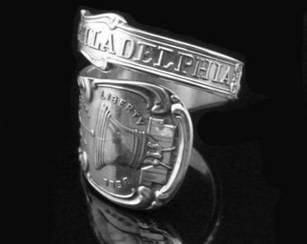 Philadelphia Sterling Silver Souvenir Spoon Ring