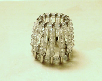 Beaded Night Light Shade, Clear Night Light Shade, Night Light Shade, Retro Lighting, Beaded Shade, Beaded Lighting - CLEAR