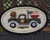 """HAND-STITCHED Primitive Folk Art Wool Applique Table Mat - """"January"""" - Mini Truck Series by Stacy West of Buttermilk Basin"""