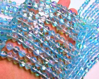 Aqua Mystic aura quartz - 8mm round - Holographic quartz - 48 Beads - full strand - RFG1260