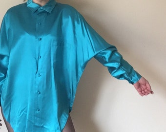 NEW WAVE dolman sleeve 80s vintage batwing ELLIESMATCHES bright chrome teal blue turquoise button up unisex high fashion shirt tope large L