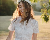 blossom and forest bridal wedding flower crown // Flore - IVORY / bohemian floral headpiece flower crown