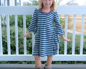 Toddler Dress, Fall Knit Dress, Toddler Girls Dress, Toddler Knit Dress, Striped Knit Dress, Bustle Dress