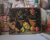 Flower Pots Garden Still Life Antique Painting Miniature 1:12 Dollhouse Scale Cottage Shabby Chic Flea Market Art, Classical Realism Oil