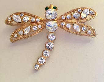 ADORABLE - Green-Eyed Gold and Rhinestone - Dragonfly Brooch