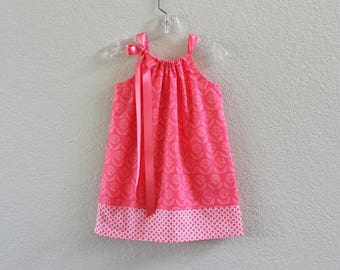 Girls Coral Pillowcase Dress - Coral and White Sun Dress - Girls Floral Sun Dress -  Size 12m, 18m, 2T, 3T, 4T, 5, 6, 8, or 10