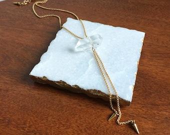 Rock Crystal Bolo Necklace // quartz necklace, rock crystal necklace, spike bolo, quartz drop necklace, quartz spike necklace, quartz bolo