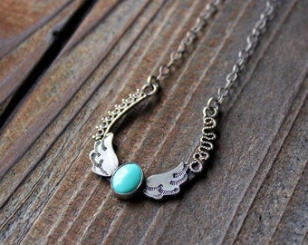 Lucky Lady Horseshoe Pendant - Sterling and Turquoise