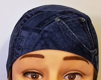Looks Like Jean Pockets Fabric, Handmade Skull Cap, Chemo Cap, Surgical Cap, Do Rag, Hats, Hair Loss, Alopecia, Motorcycle, Helmet Liner