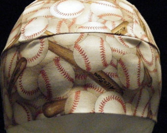 Handmade Tan Skull or Chemo Cap w Baseballs and Bats, Hats, Baseball, Helmet Liner, Head Wrap, Motorcycle, Hair Loss, bald, Surgical, Sports