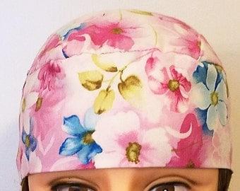 Handmade Chemo Cap w Flowers, Skull Cap, Surgical Cap, Hair Loss, Head Wrap, Hat, Helmet Liner, Motorcycle, Do Rag, Alopecia, Bandanna, Caps