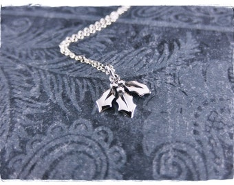 Silver Mistletoe Necklace - Sterling Silver Mistletoe Charm on a Delicate Sterling Silver Cable Chain or Charm Only
