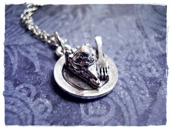 Pie a la Mode Necklace - Silver Pewter Pie a la Mode Charm on a Delicate Silver Plated Cable Chain or Charm Only