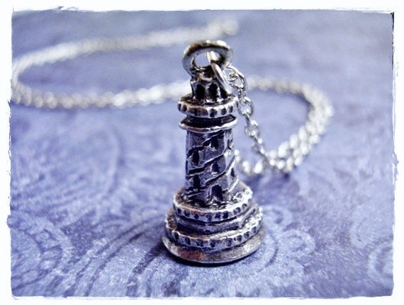 Silver Lighthouse Necklace - Antique Pewter Lighthouse Charm on a Delicate Silver Plated Cable Chain or Charm Only