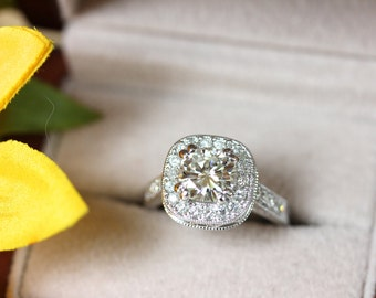 Cushion cut moissanite, magnificent art deco engagement ring, Milgrain patterned, vintage inspired