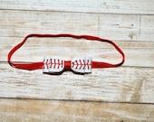 Baseball Bow Headband, White Ribbon with Red Baseball Stitching Bow, Baby Bow Headband, Baby Girls Hair Accessories, Girls Hair Accessories