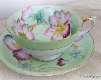 Spectacular Shafford tea cup ~ Shafford Japan~ mint tea cup ~ mint floral tea cup ~ hand painted tea cup ~ midcentury Asian tea cup ~ teacup