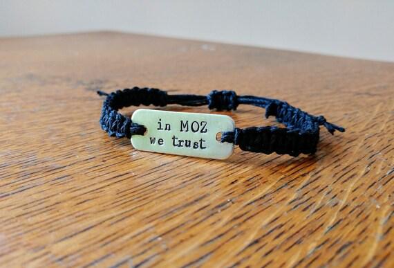 The Smiths Morrissey 'in Moz we trust' stamped bracelet // macrame hemp bracelet