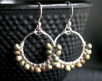 Green dangle earrings, beaded hoop, wire wrapped, drop, Miyuki Japanese beads, iridescent, sterling silver, Mimi Michele Jewelry