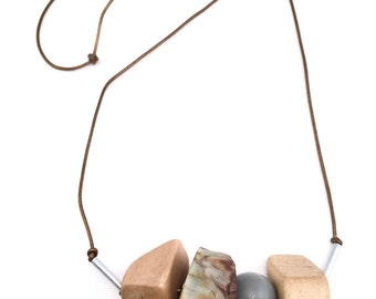 Bronze Agate Geometric Vintage Wood Beaded Silver Leather Cord Long Necklace