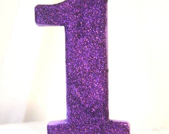 "JUMBO 5"" GLITTER CANDLE Large Number Birthday Cake Candles Photo Prop Cake Smash 1 1st 2nd 3rd 4th 5th 6th 7th Kids First Birthday Wild One"